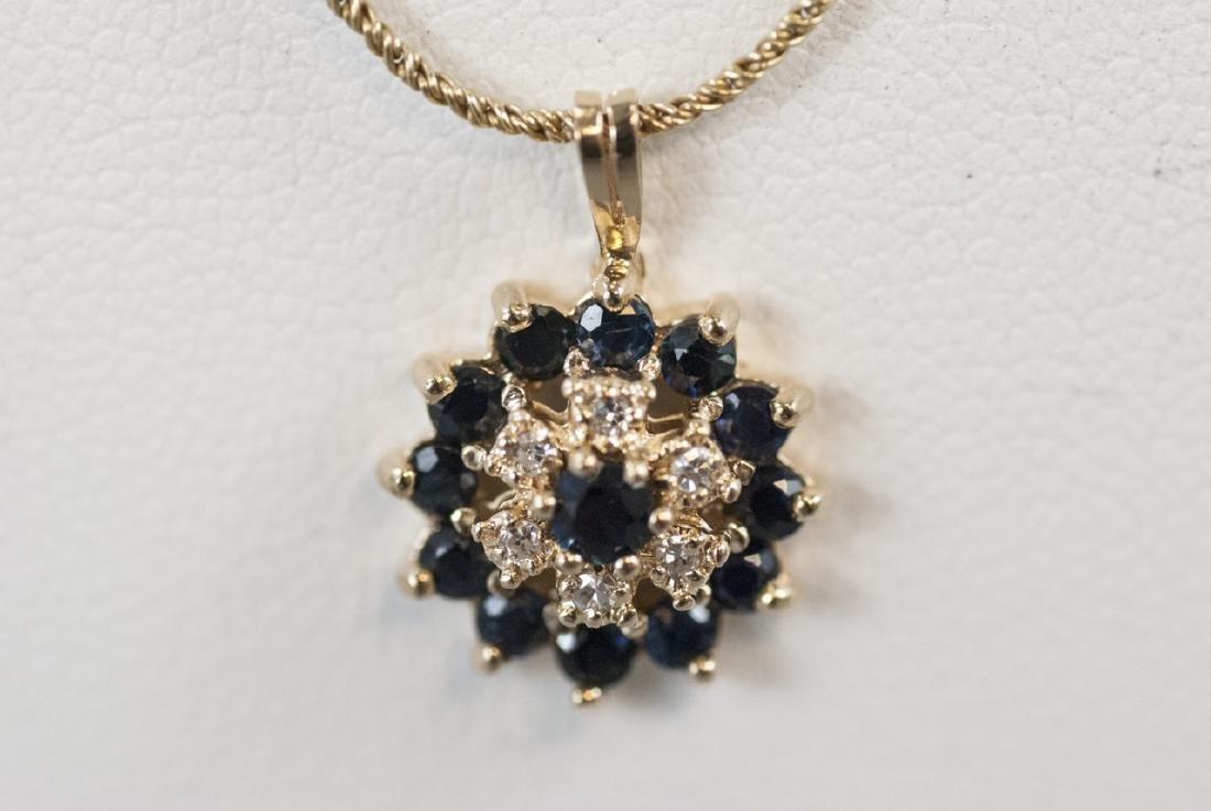 Estate 14kt Yellow Gold Diamond & Sapphire Pendant