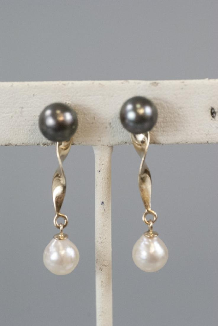 Estate 14kt Gold Black & White Pearl Earrings