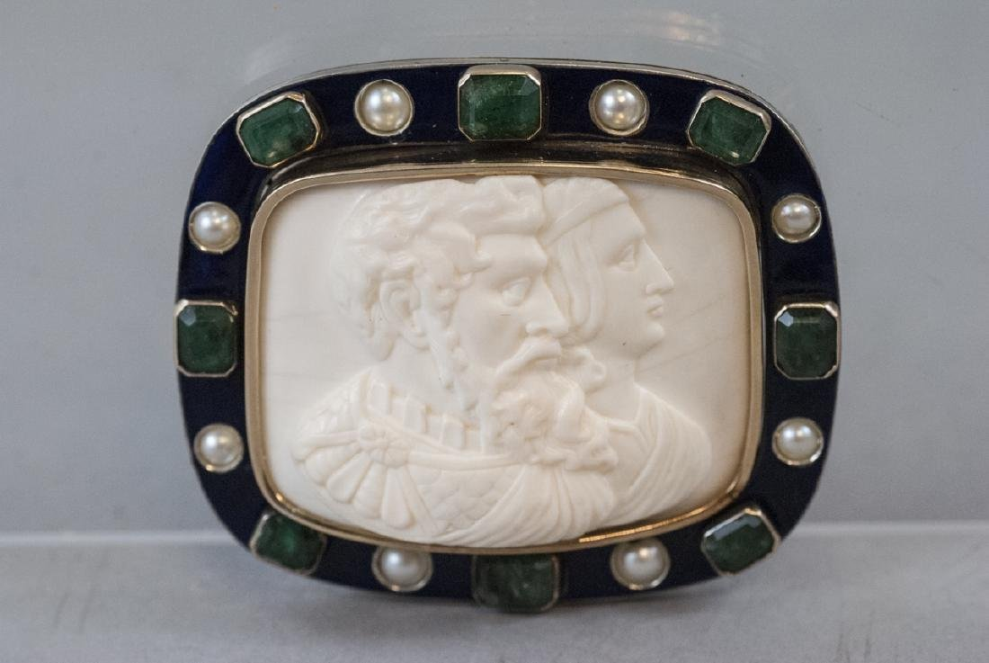 Estate 14kt Gold Cameo w 7.5 Carats of Emeralds