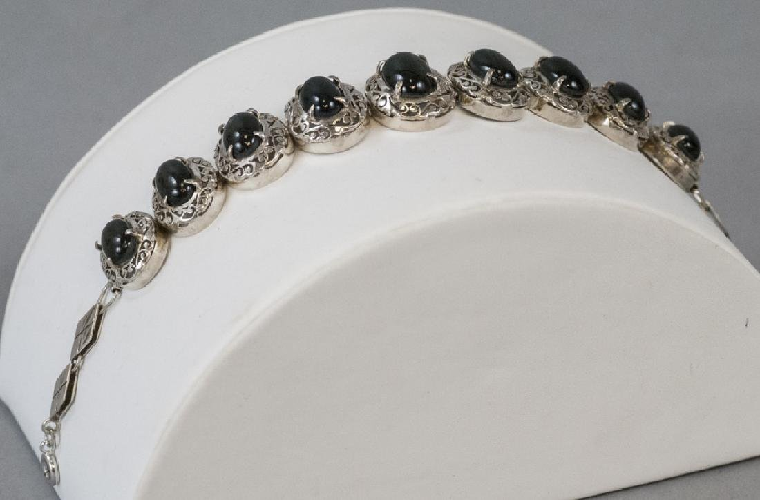 Chinese Sterling Silver & Star Cabochon Bracelet