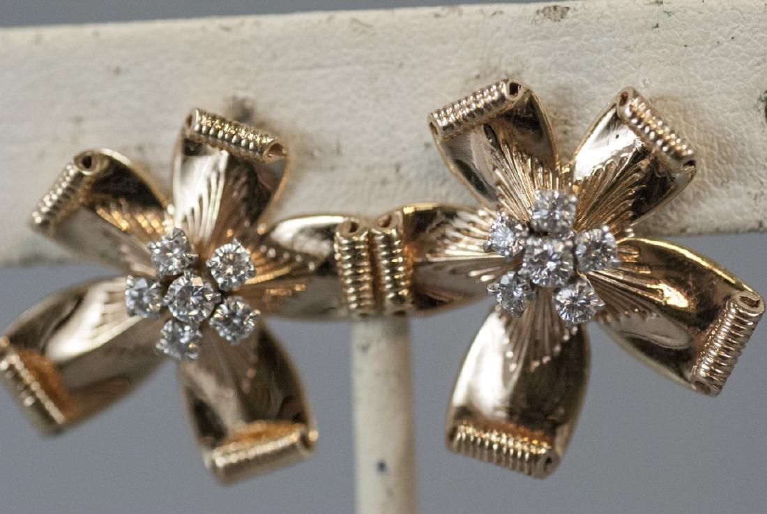 Estate 14kt Yellow Gold & 1.21 Ct Diamond Earrings