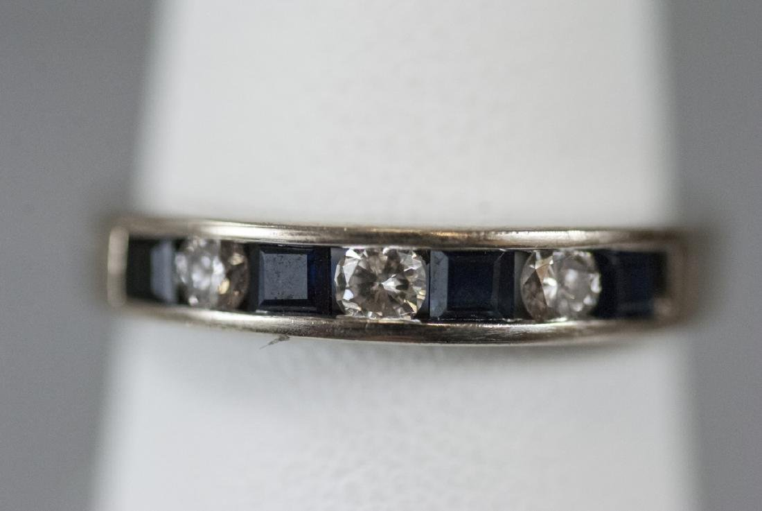 14kt White Gold Diamond & Sapphire Band / Ring