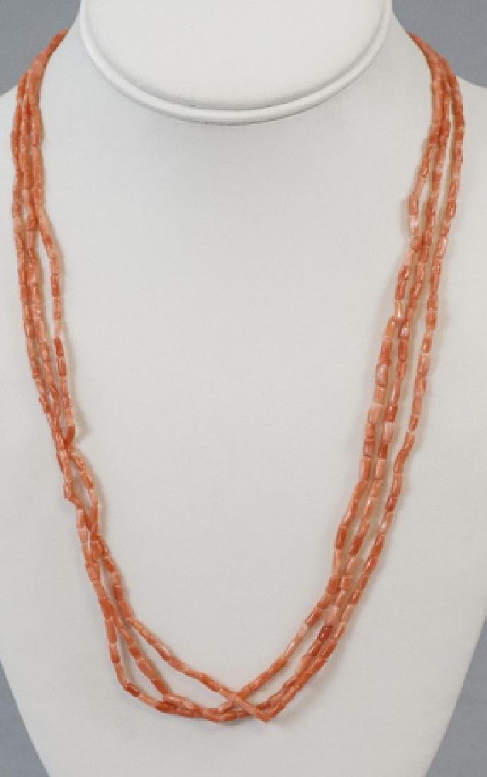 Vintage Triple Strand Carved Coral Bead Necklace