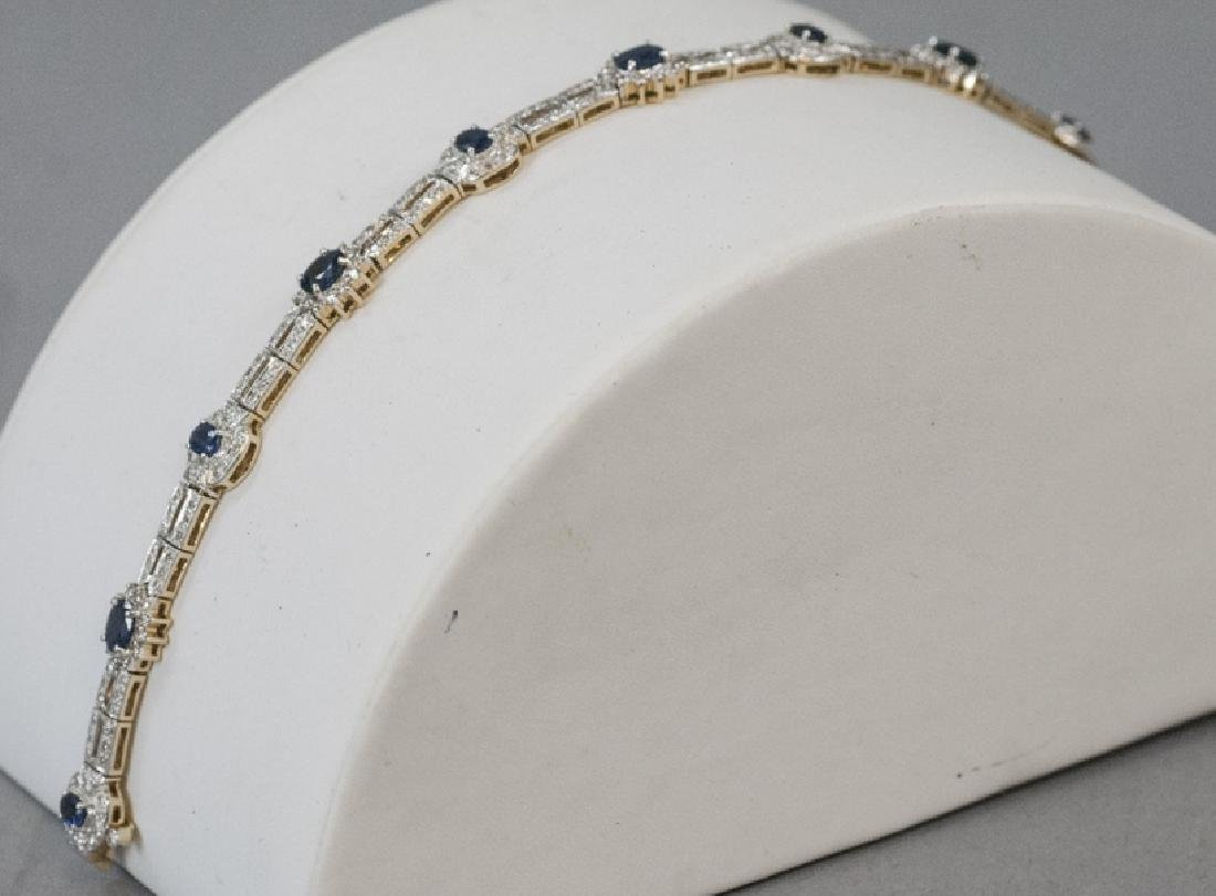 Estate 14k Gold Diamond Sapphire Art Deco Bracelet