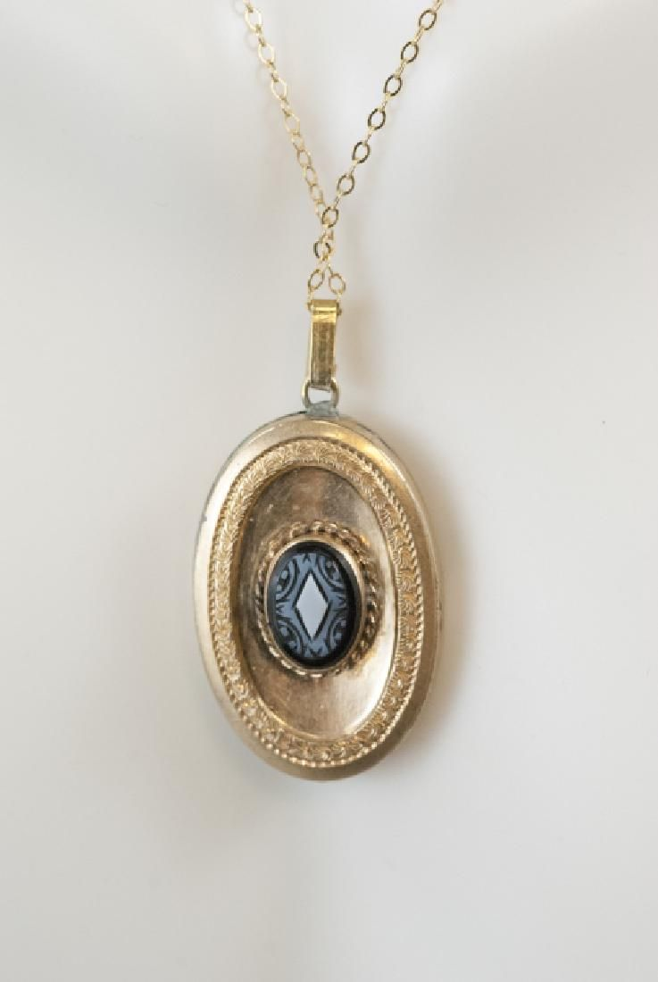 Antique Victorian Banded Agate Cameo Pendant
