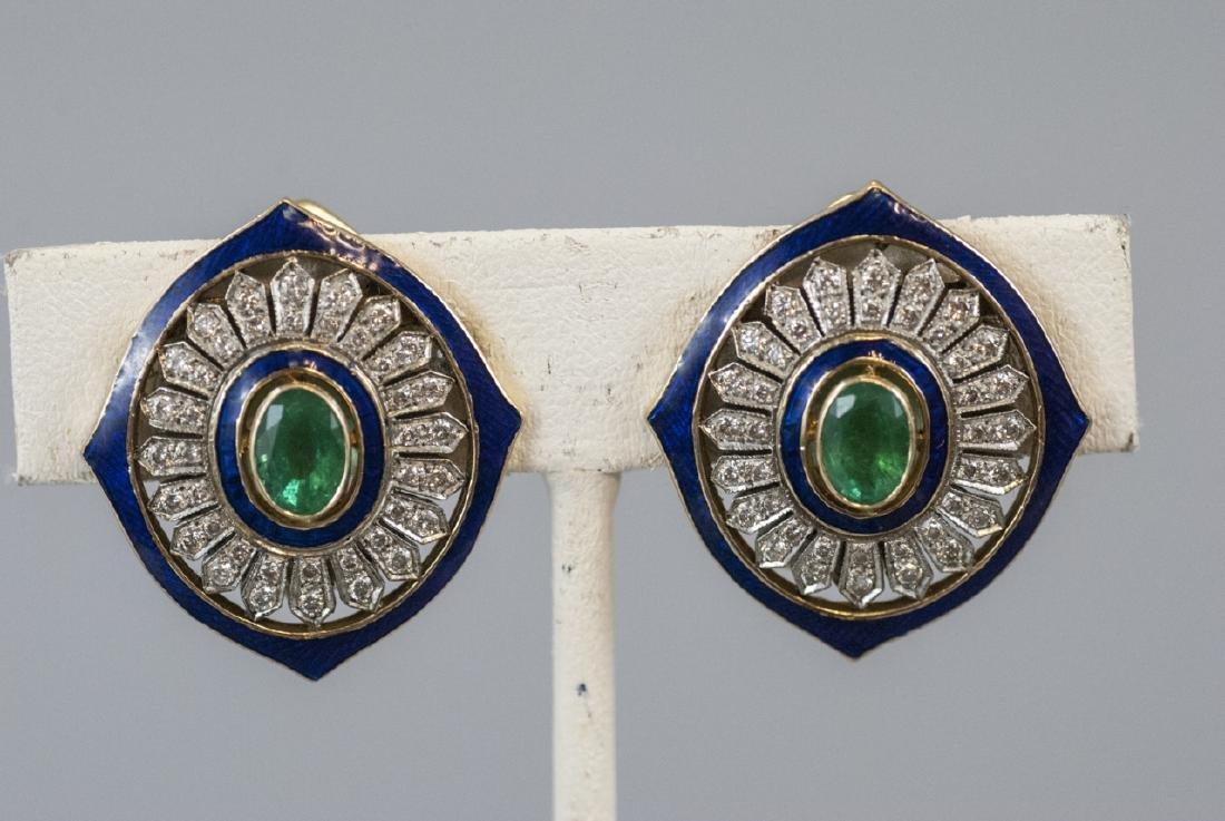 Estate 18kt Gold Emerald Diamond & Enamel Earrings