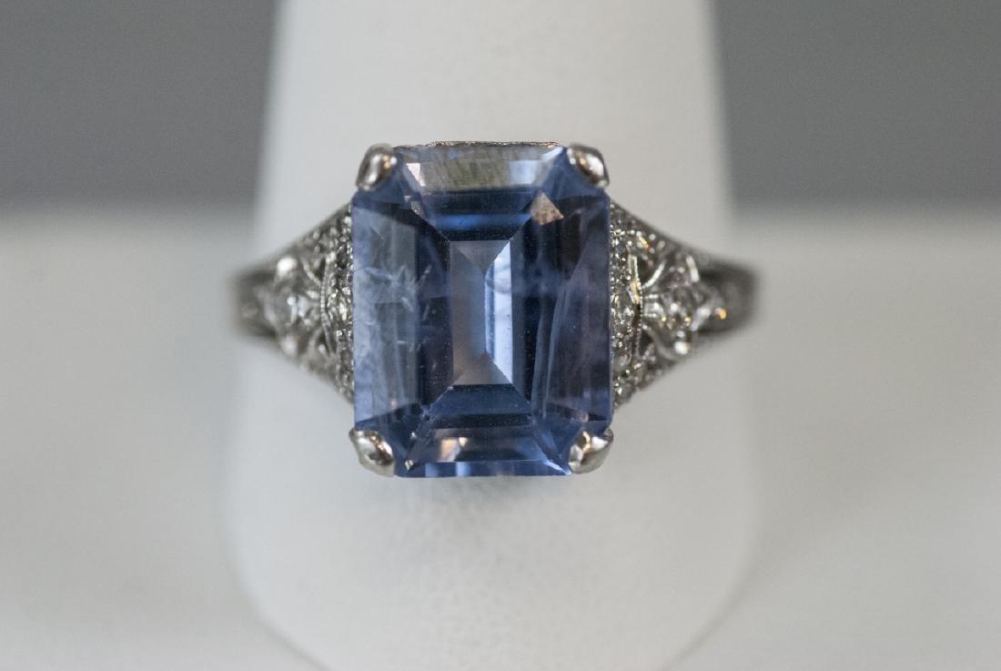 Estate Platinum & 9 Carat Ceylon Sapphire Ring