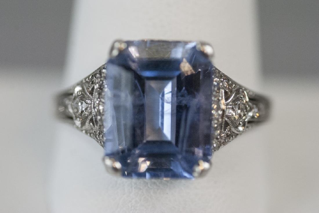 Estate Platinum & 9 Carat Ceylon Sapphire Ring - 6