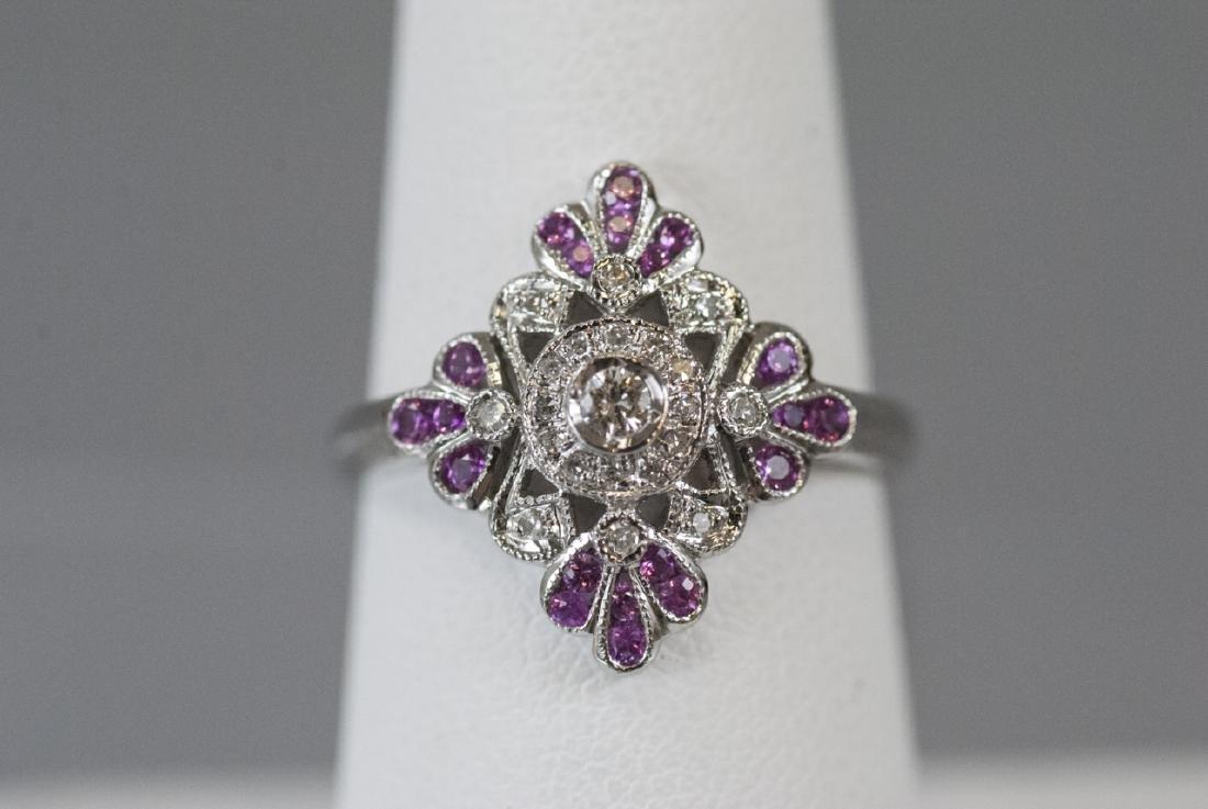 14kt White Gold Diamond & Pink Sapphire Ring