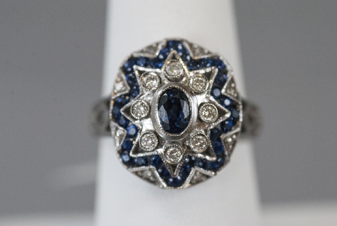 14kt White Gold Sapphire & Diamond Filigree Ring
