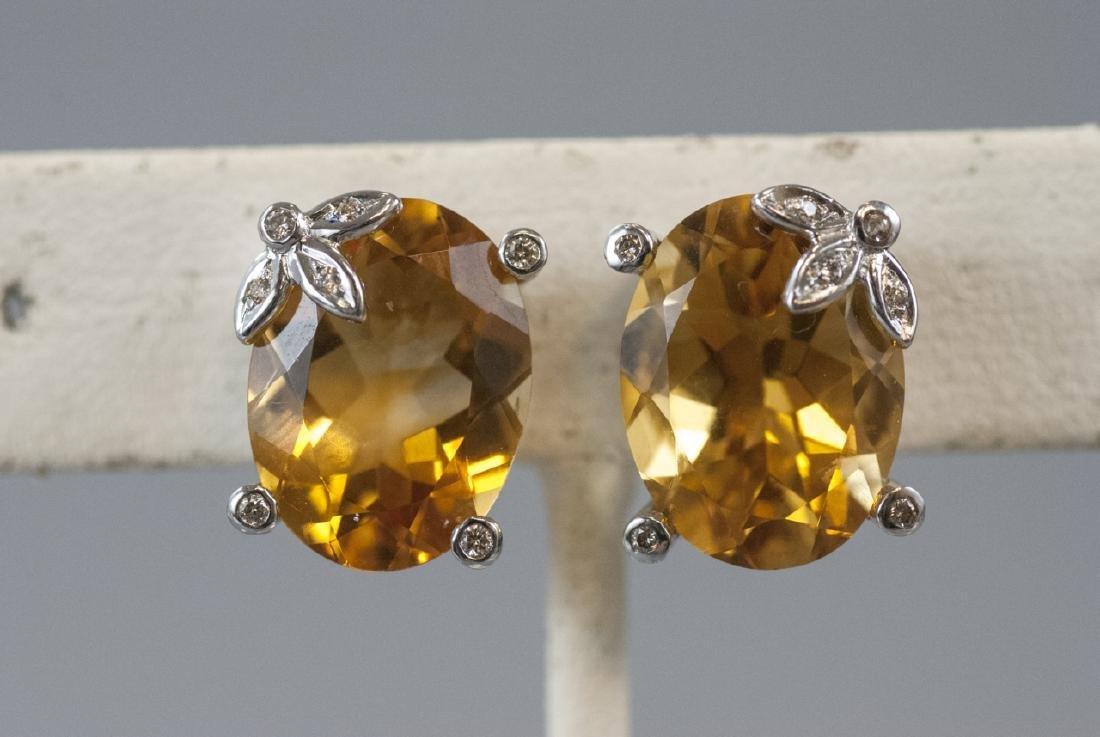 18kt White Gold Diamond & Citrine Earring Studs