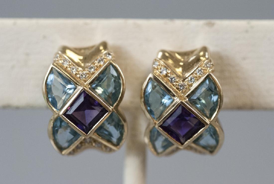 Estate Retro 14kt Gold Diamond Topaz Earrings