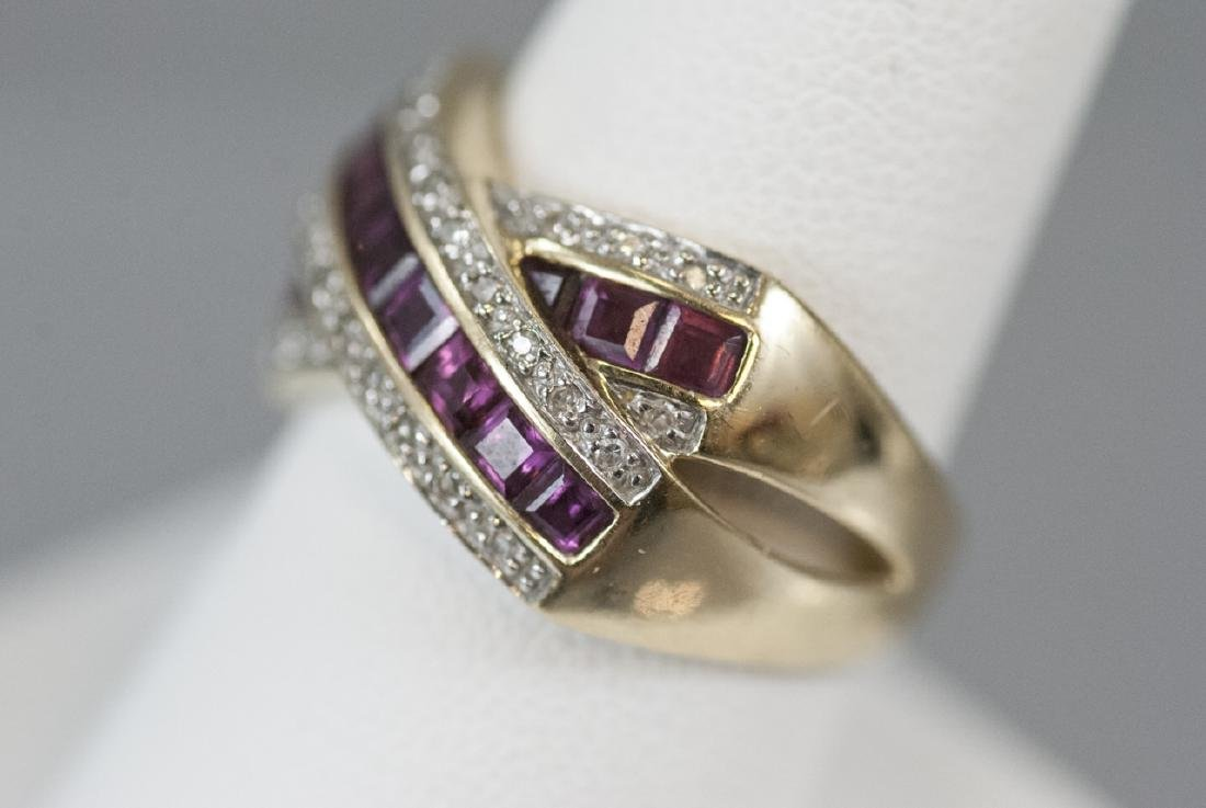 Estate 14kt Yellow Gold Ruby & Diamond Ring - 5