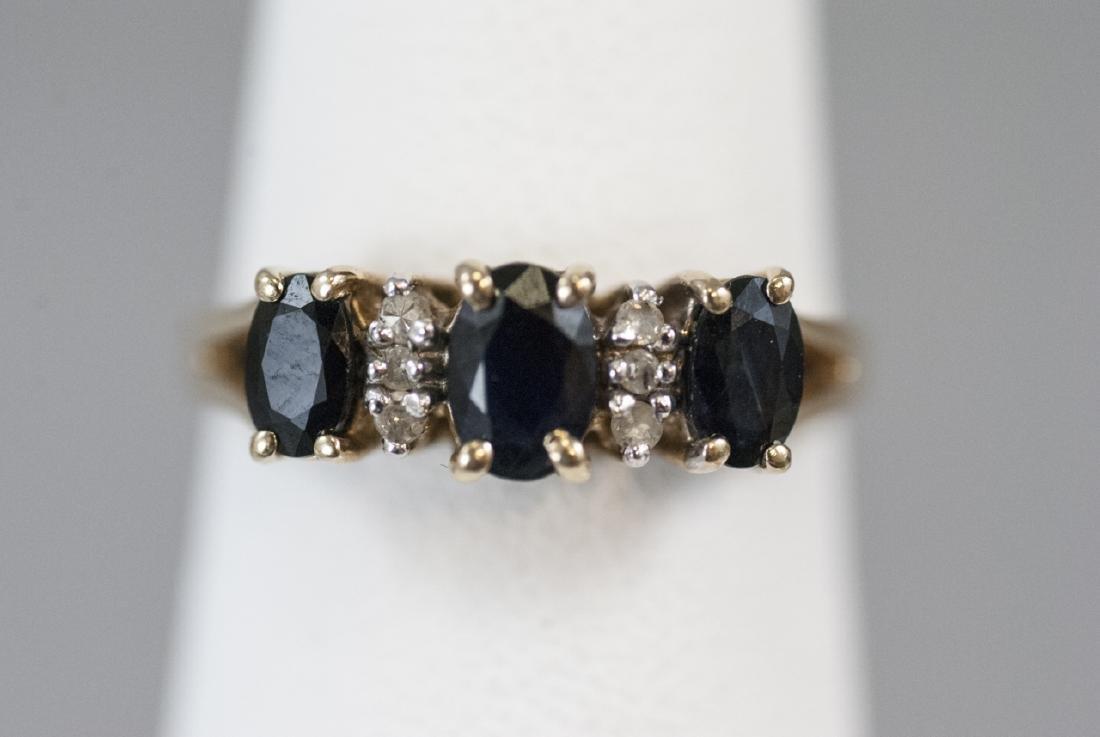 Estate Yellow Gold Diamond & Sapphire Ring