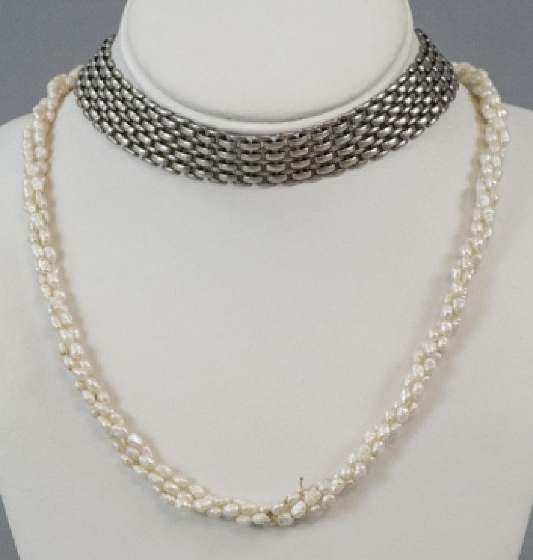 Seed Pearl Multi Strand Necklace & Book Chain