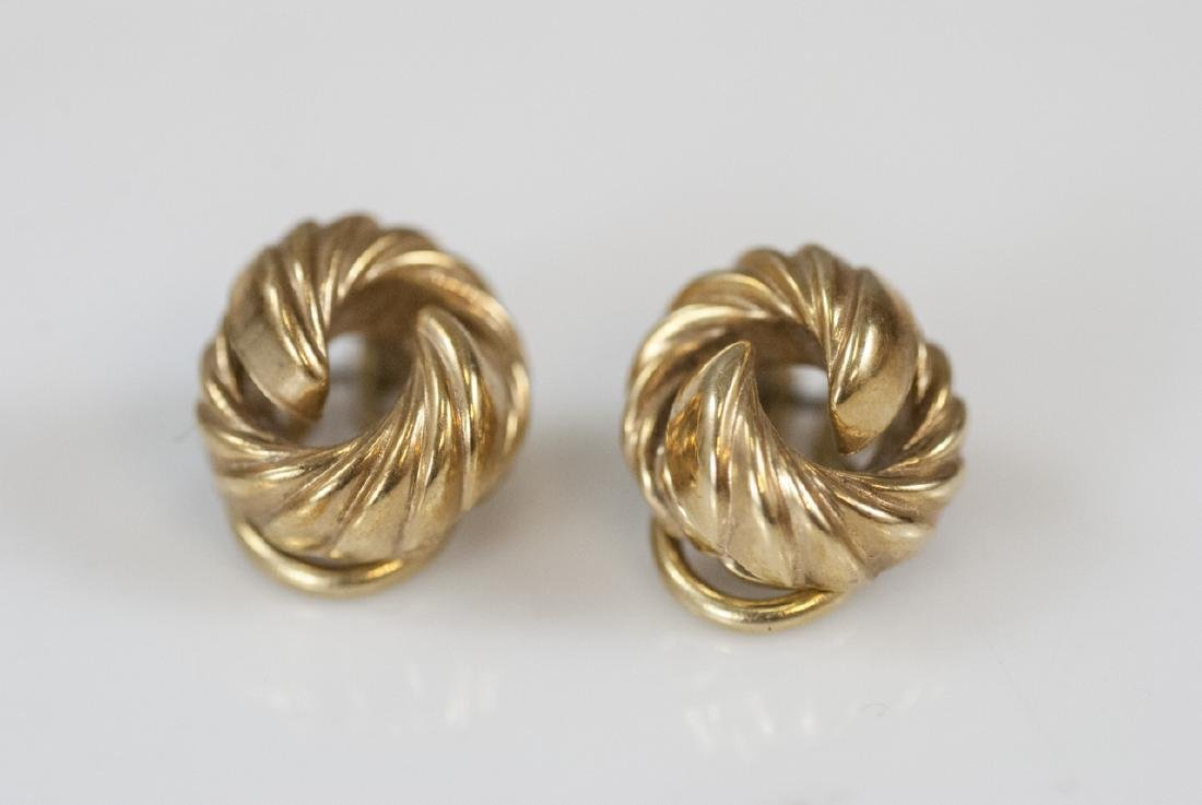 Estate 14kt Yellow Gold Knot Motif Earrings