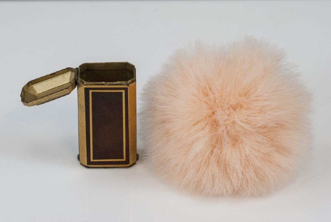 """Vintage French Makeup Compact w """"Umbrella"""" Brush"""