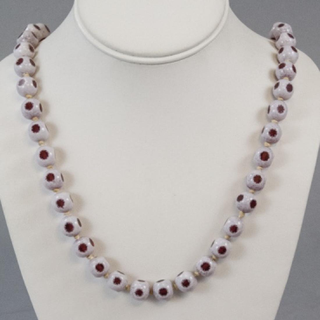 Antique Bohemian Glass Bead Necklace Strand