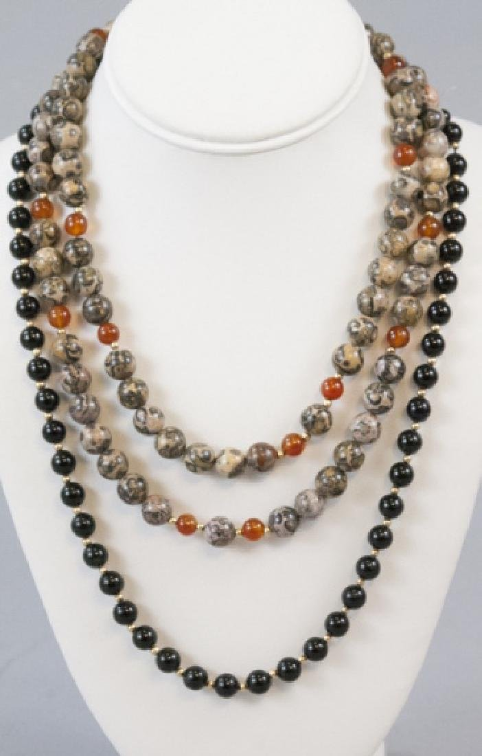 Estate 14kt Gold Onyx, Carnelian & Agate Necklaces