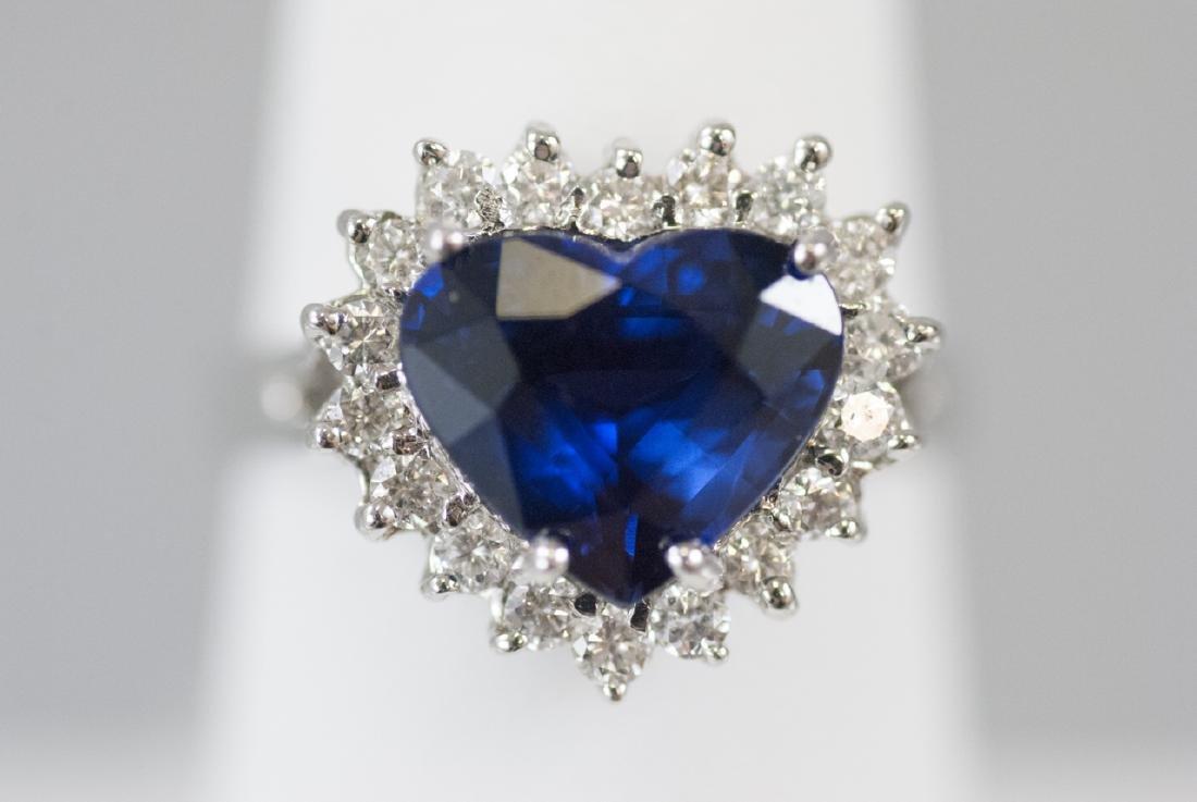 Estate 14kt White Gold 3.8 Carat Sapphire Ring