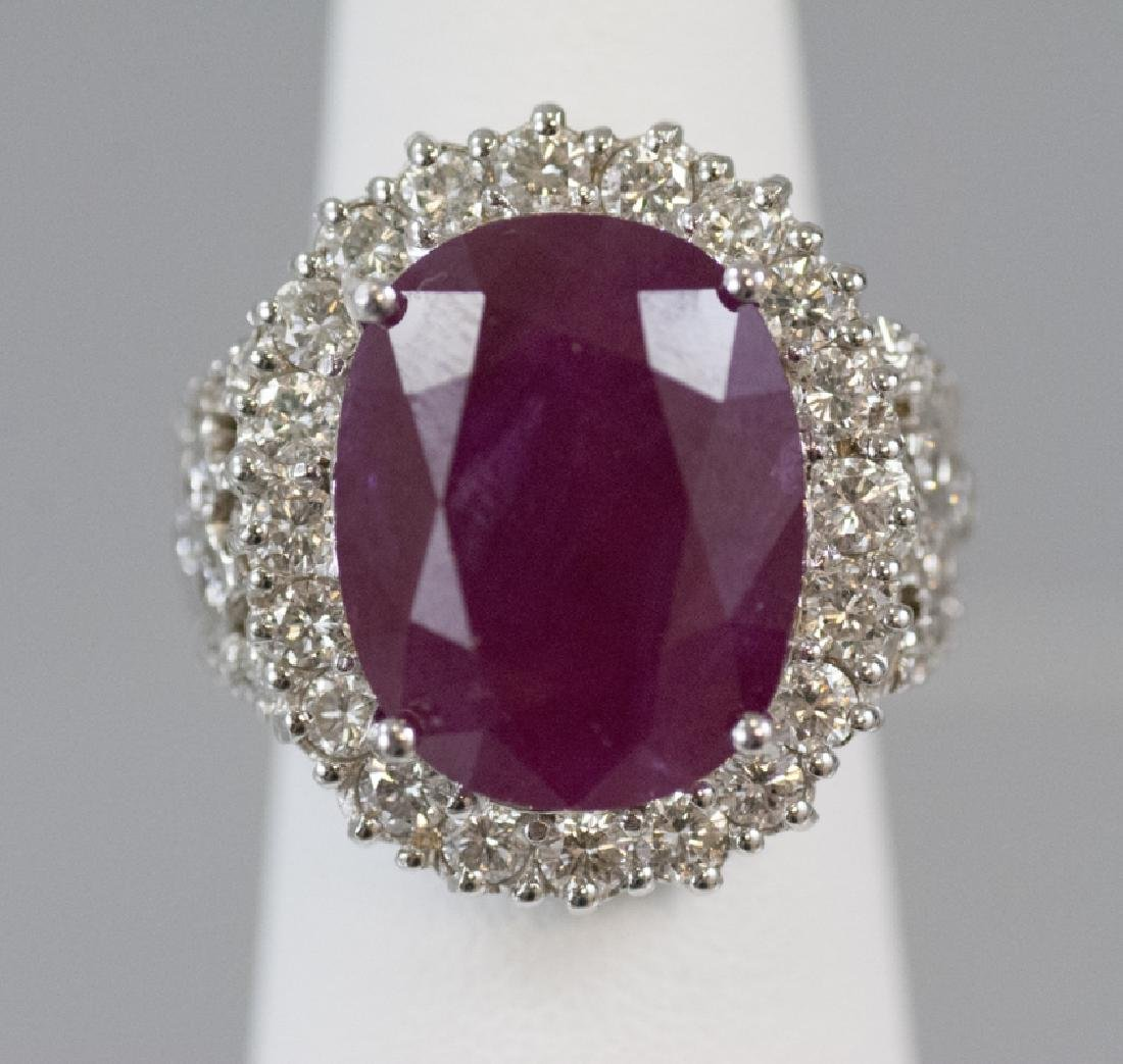 Estate 18kt White Gold 17.9 Ct Ruby & Diamond Ring