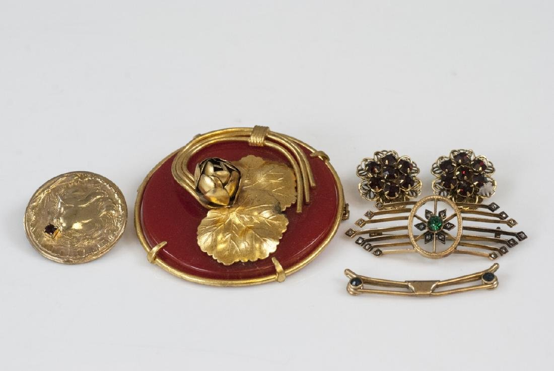 Antique & Vintage Gilt Metal Brooches & Earrings