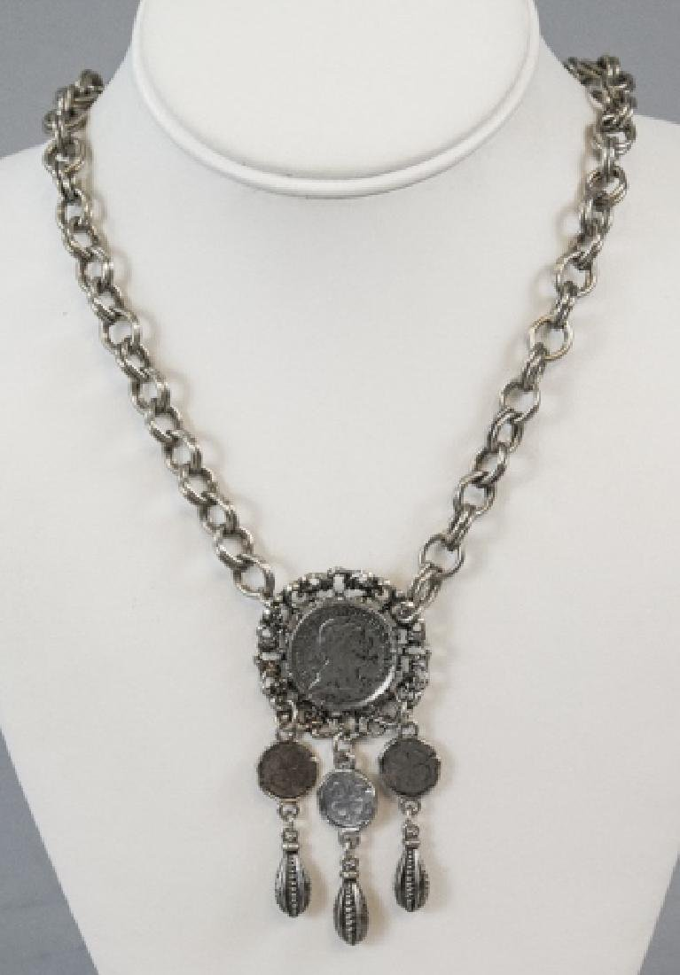 Vintage Costume Jewelry Faux Coin Mount Necklace
