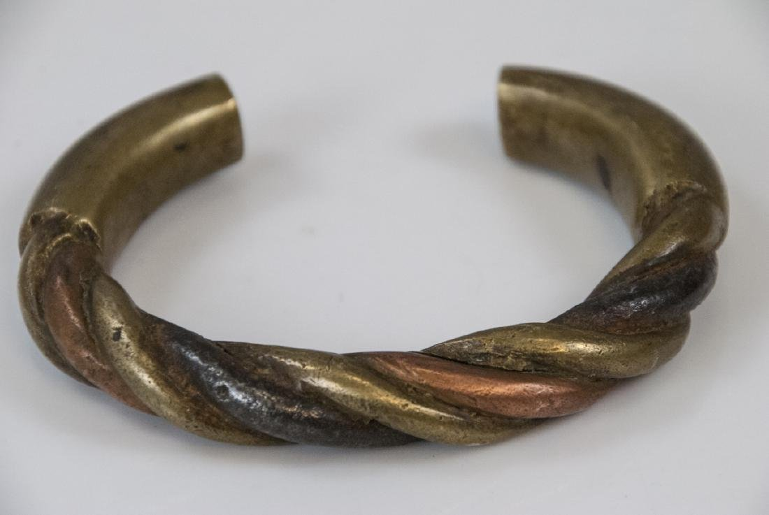 Estate Handmade Two Tone Bronze Cuff Bracelet