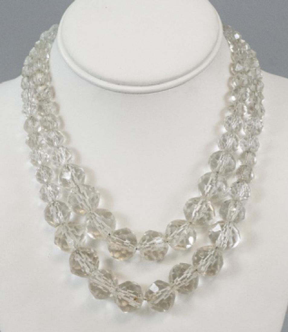 Antique Rock Crystal Necklace on Sterling Chains