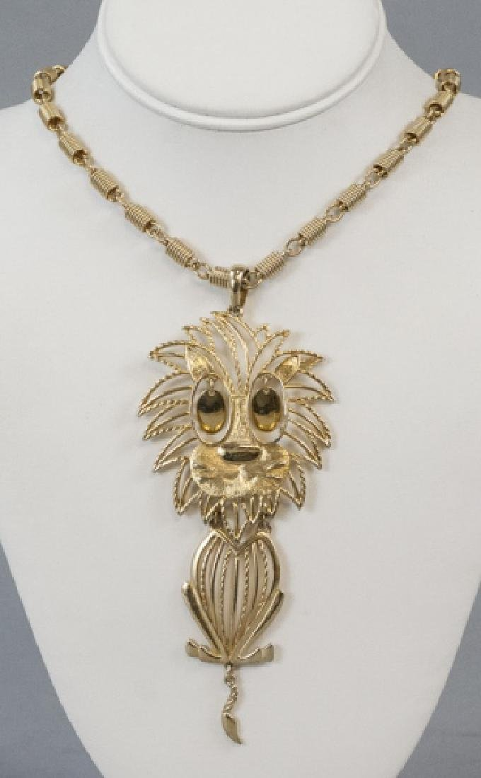 Vintage Gilt Metal Costume Jewelry Lion Necklace