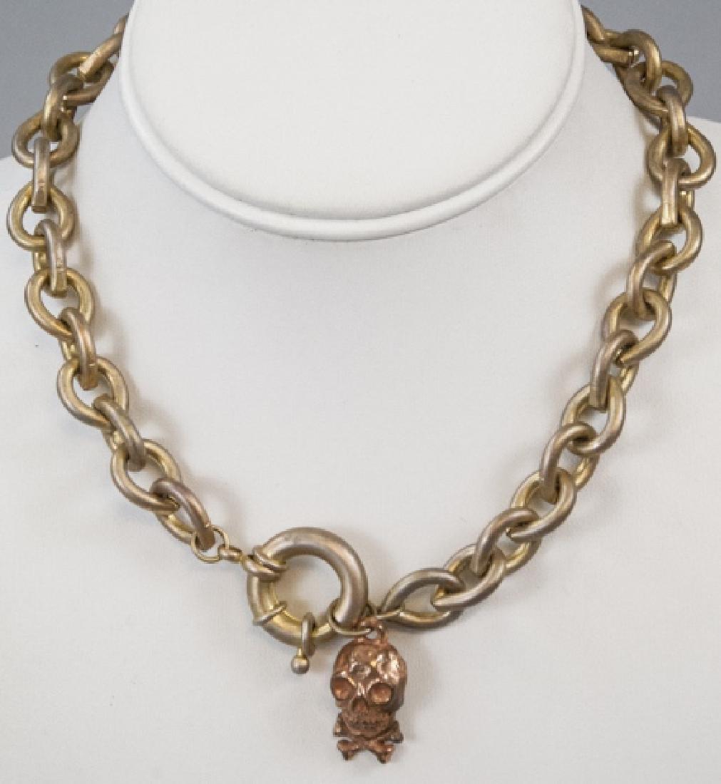 Vintage Gilt Metal Necklace w Gilt Skull Pendant
