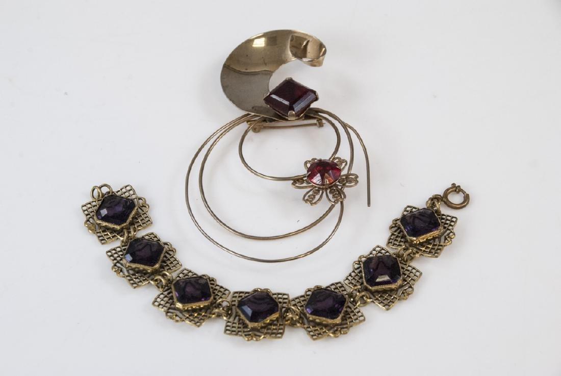 Antique Amethyst Crystal Bracelet & Retro Brooch