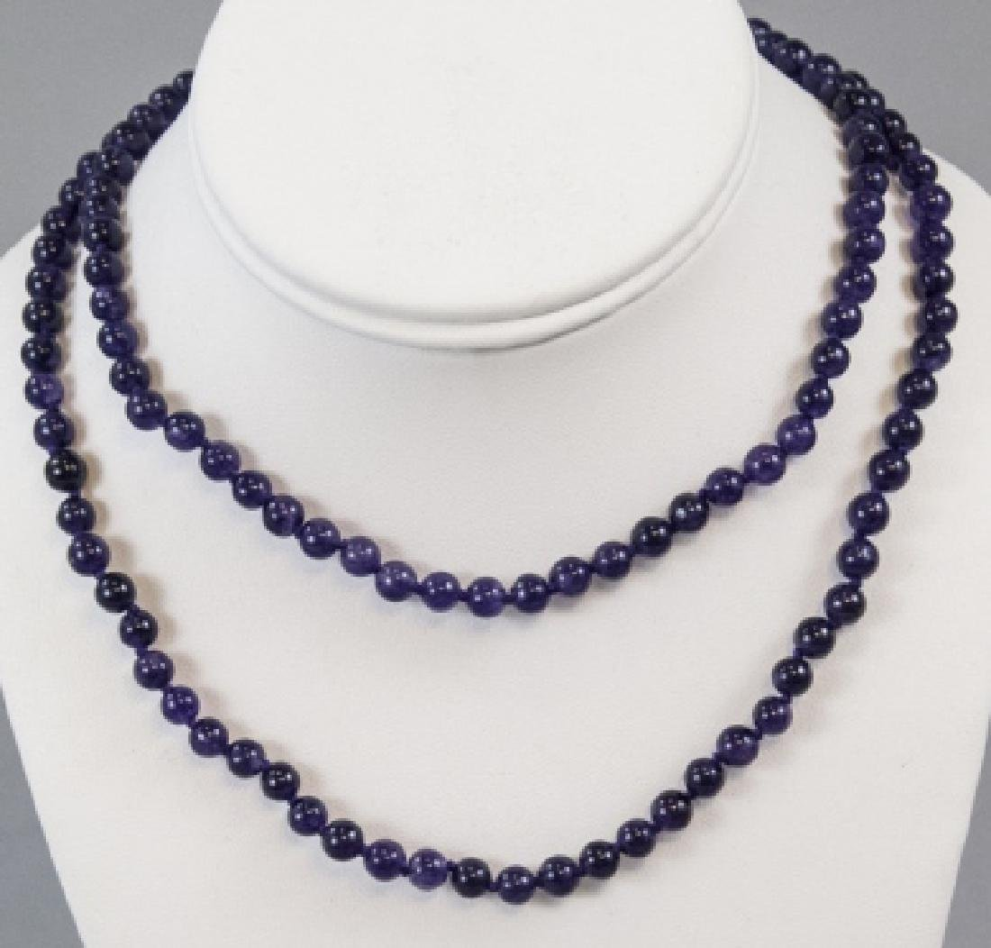 Pair Hand Knotted Amethyst Bead Necklace Strands