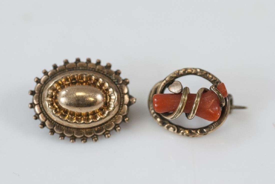 Antique 19th C Victorian Gold & Coral Brooch Pins