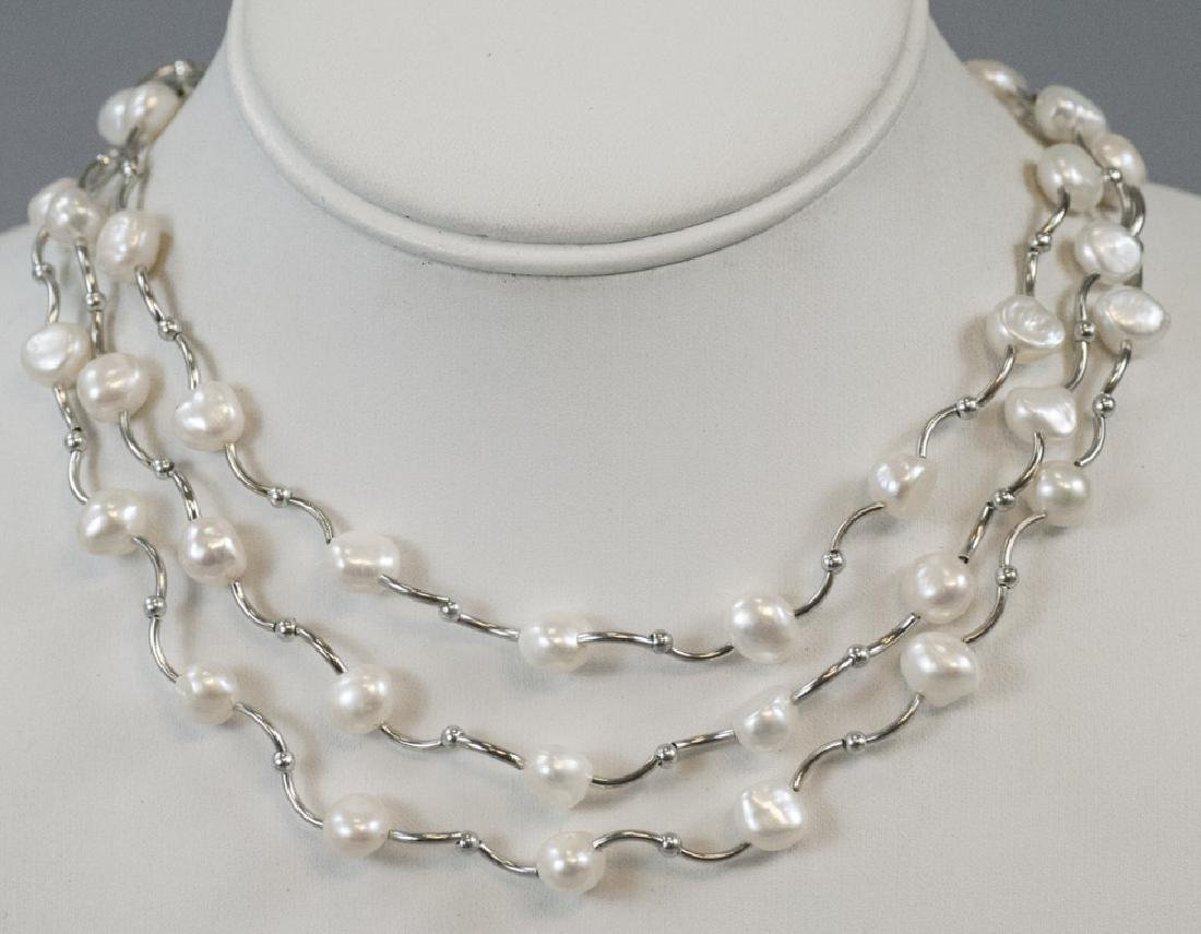 Three White Baroque Form Pearl Set Necklaces
