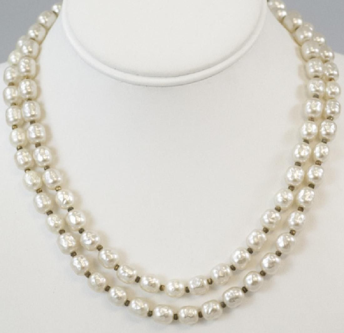 Vintage Signed Miriam Haskell Pearl Necklace