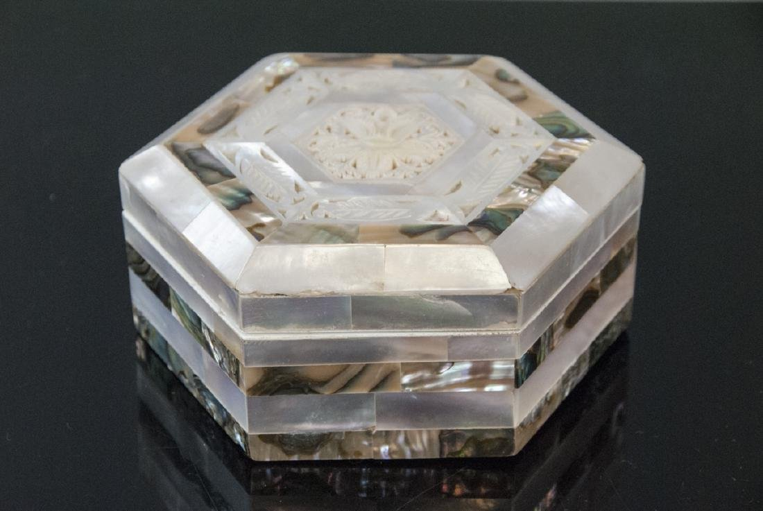Carved Mother of Pearl & Abalone Shell Jewelry Box