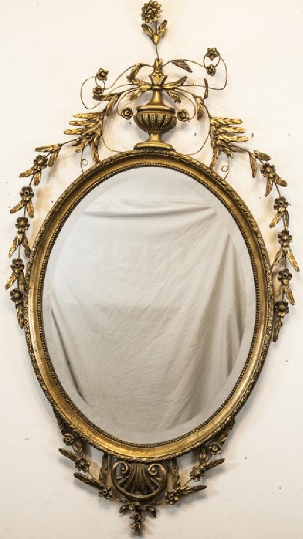 Antique Adams Brother Style Gilt Wood Mirror