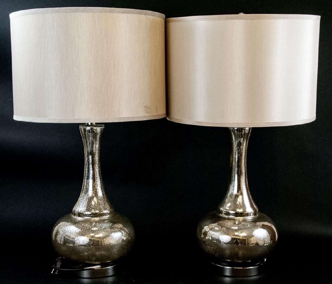 Pair Of Mercury Glass Lamps W/ Silk Shades