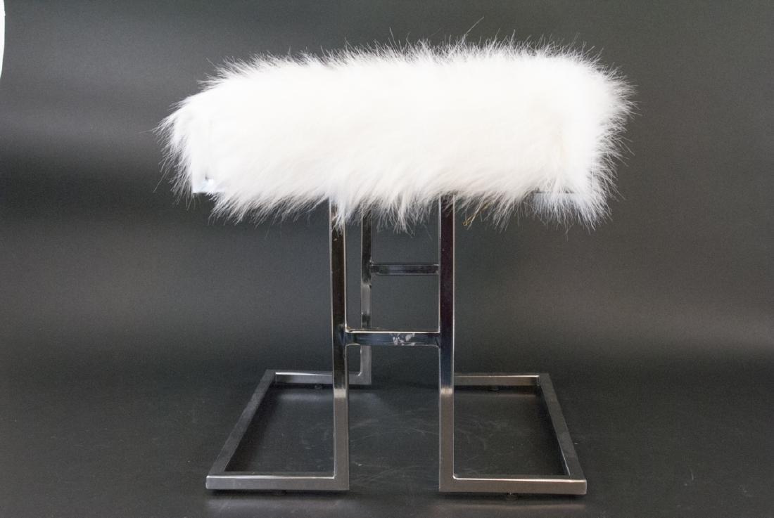 White Faux Fur & Chrome Vanity Stool