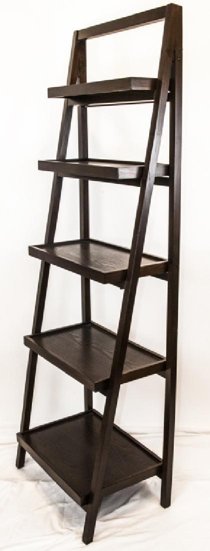 Five Tier Dark Wood Leaning Bookcase