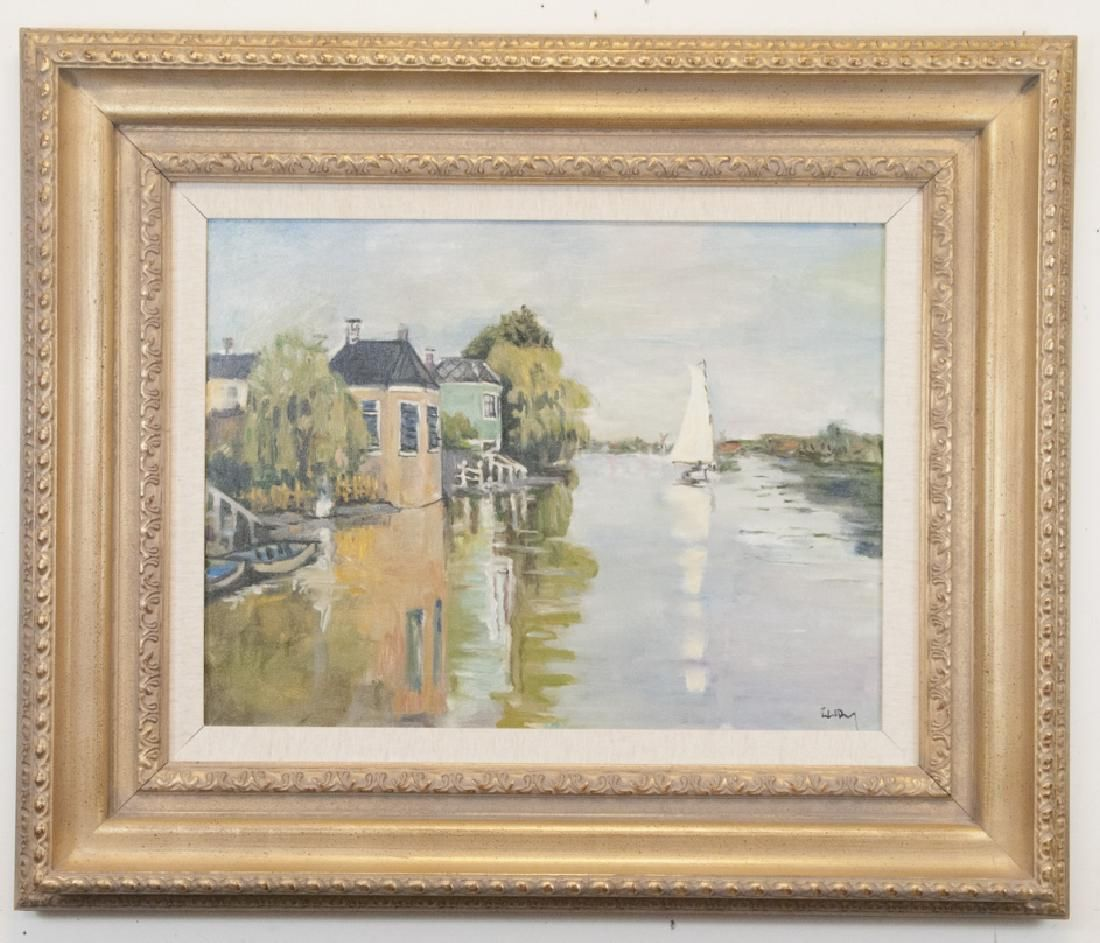 Oil On Canvas Dutch Painting Of River Seine