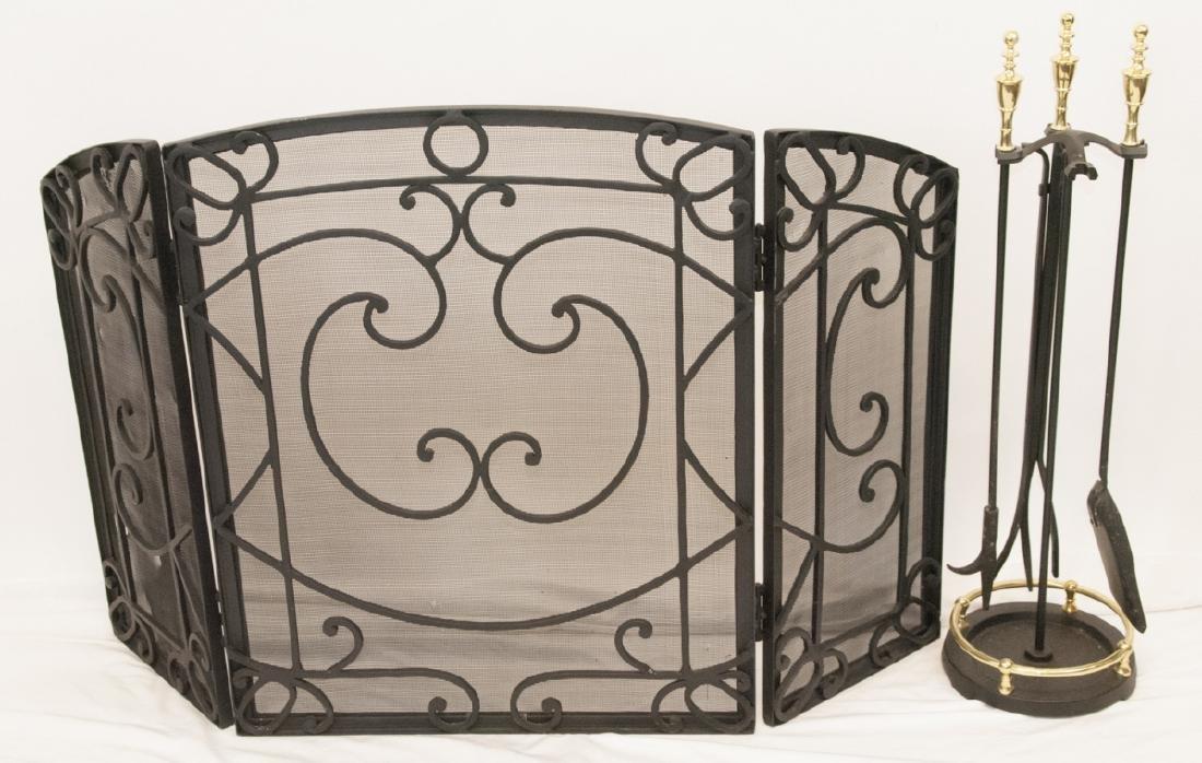 Fireplace Cast Iron Screen & Brass Fireplace Tools