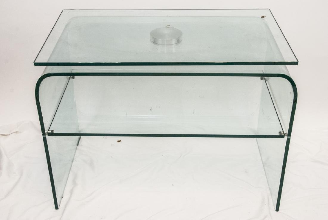 Modern All Glass Swivel Media Console Side Table