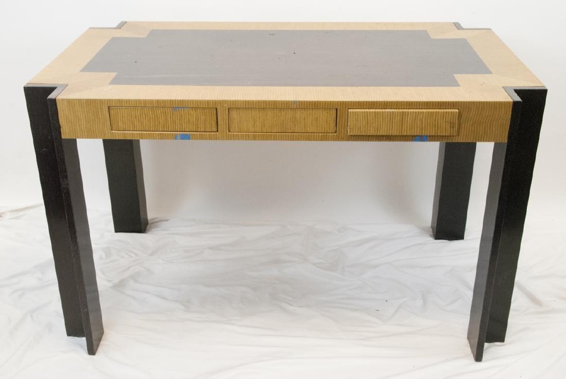 Custom Contemporary Burl Wood 3 Drawer Desk