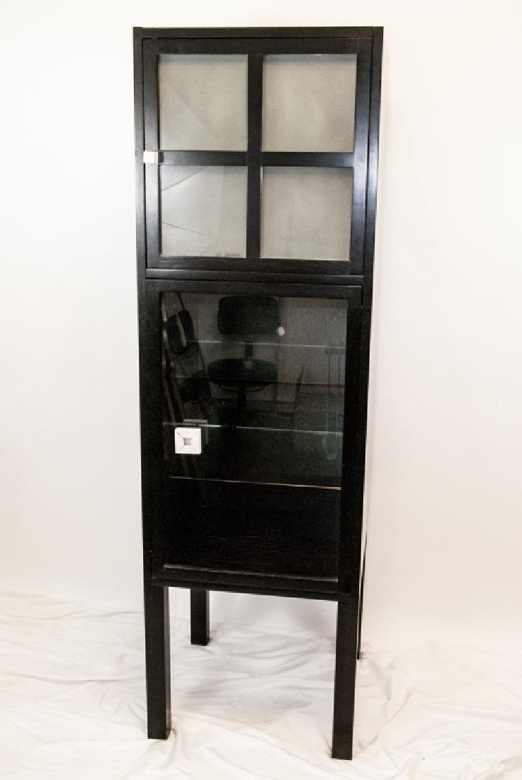 Modern Black Washed Wood Media Cabinet