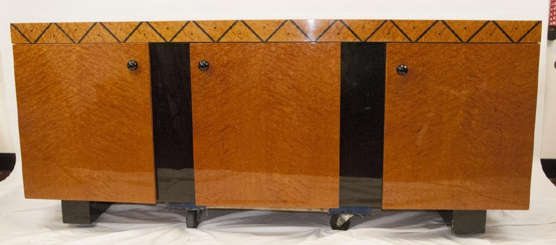 Contemporary Art Deco Inlayed Burl Wood Buffet