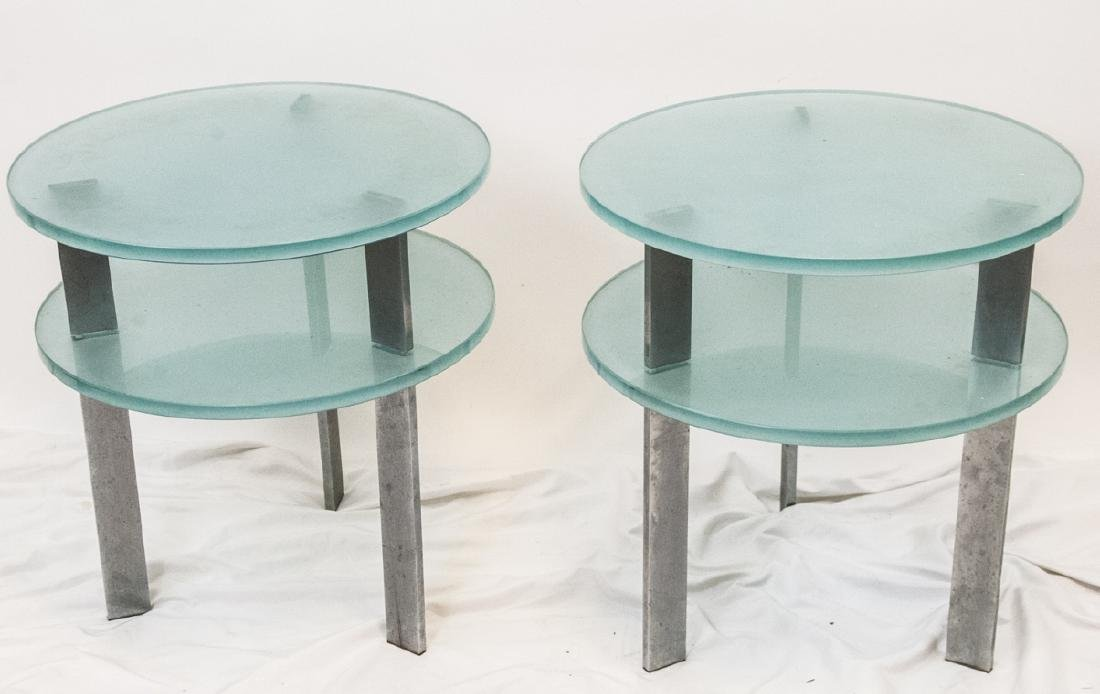 Pair Of Modern Two Tier Glass Side Tables