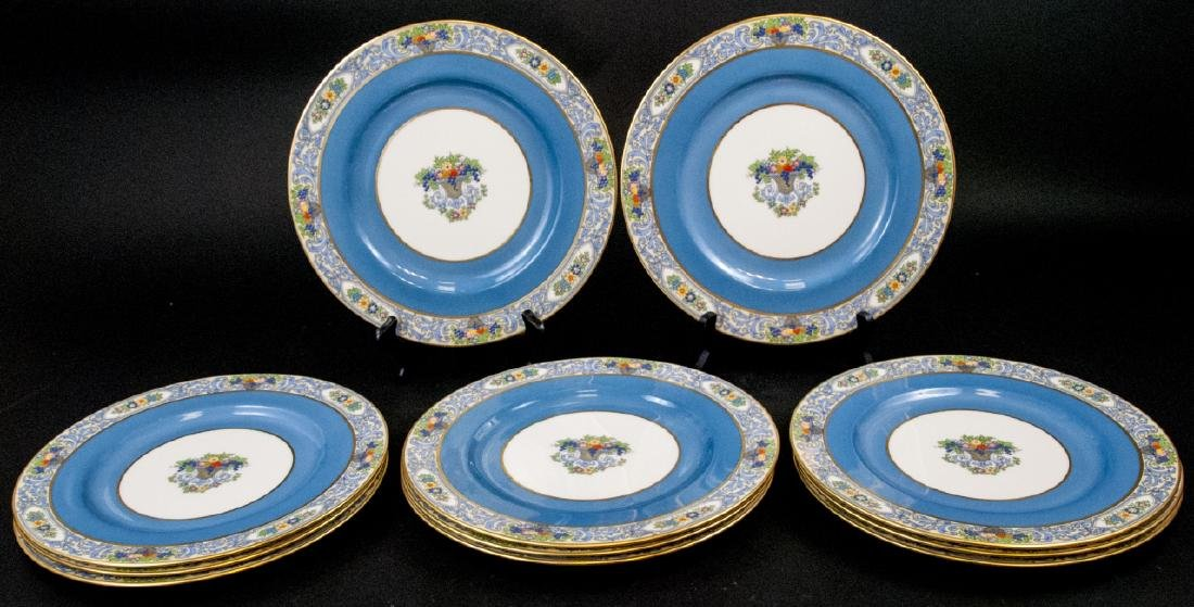 11 Lenox Autumn Blue Border Dinner Plates