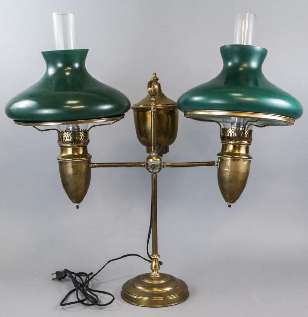 Victorian Converted Brass Double Student Oil Lamp